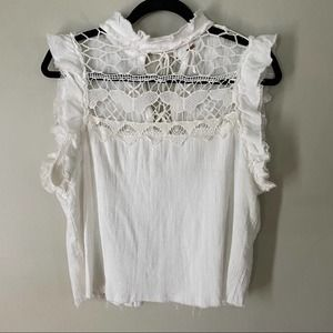 Free People   Simply Smiles Crochet Flutter Top